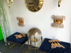 Palwa 2 Pair of Brass and Crystal Glass Sconces by Palwa Germany 1970s - 799880