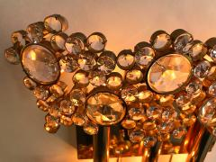 Palwa 2 Pair of Brass and Crystal Glass Sconces by Palwa Germany 1970s - 799884
