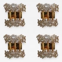 Palwa 2 Pair of Brass and Crystal Glass Sconces by Palwa Germany 1970s - 801397