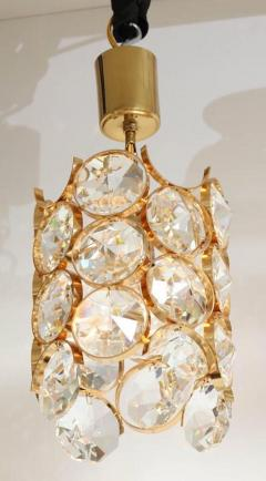 Palwa Ernest Palme Faceted Crystal and Gilt Brass Pendant - 2007878