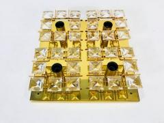 Palwa Gilded Brass and Crystal Flush Mount from Palwa 1960s - 2047906