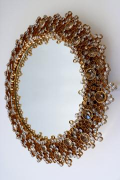Palwa Gorgeous Gilt Brass Crystal Glass Backlit Wall Mirror by Palwa Germany 1970s - 1915080