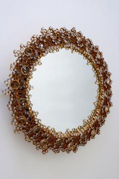 Palwa Gorgeous Gilt Brass Crystal Glass Backlit Wall Mirror by Palwa Germany 1970s - 1915083