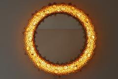 Palwa Gorgeous Gilt Brass Crystal Glass Backlit Wall Mirror by Palwa Germany 1970s - 1915085