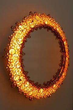 Palwa Gorgeous Gilt Brass Crystal Glass Backlit Wall Mirror by Palwa Germany 1970s - 1915088