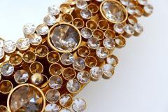 Palwa Gorgeous Gilt Brass Crystal Glass Backlit Wall Mirror by Palwa Germany 1970s - 1915091