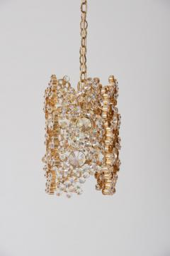 Palwa One of Three Palwa Gilded Brass and Crystal Glass Encrusted Pendant Lamps - 984101