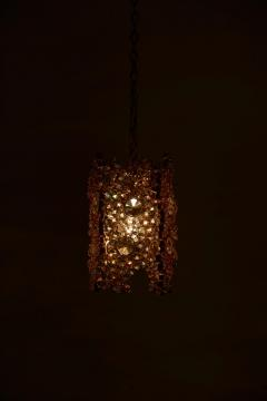 Palwa One of Three Palwa Gilded Brass and Crystal Glass Encrusted Pendant Lamps - 984104
