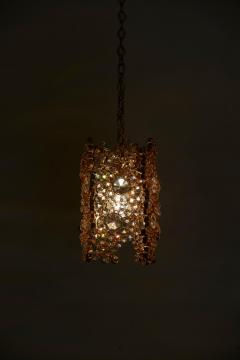 Palwa One of Three Palwa Gilded Brass and Crystal Glass Encrusted Pendant Lamps - 984105