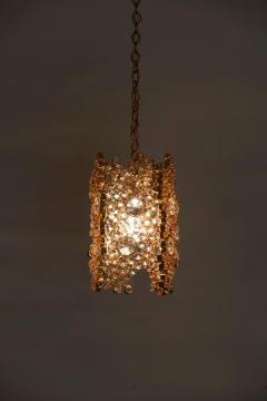 Palwa One of Three Palwa Gilded Brass and Crystal Glass Encrusted Pendant Lamps - 984106