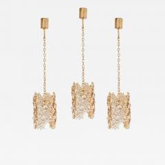 Palwa One of Three Palwa Gilded Brass and Crystal Glass Encrusted Pendant Lamps - 984113