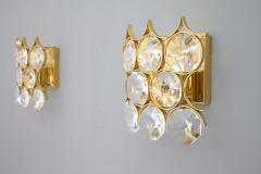 Palwa Pair of Palwa Wall Sconces Crystal Glass and Gilded Brass Germany 1960s - 950642