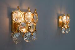 Palwa Pair of Palwa Wall Sconces Crystal Glass and Gilded Brass Germany 1960s - 950643
