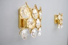 Palwa Pair of Palwa Wall Sconces Crystal Glass and Gilded Brass Germany 1960s - 950651
