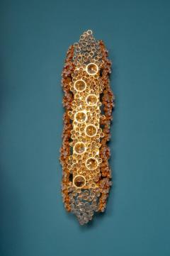 Palwa Palwa 14 Karat Gold Plated Brass and Cut Crystal Glass Sconce Germany 1970s - 1030582