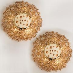 Palwa Piar Of Gilded Brass and Crystal Glass Flush Mount wall Light by Palwa 1960s - 1186245