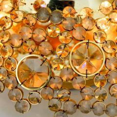 Palwa Piar Of Gilded Brass and Crystal Glass Flush Mount wall Light by Palwa 1960s - 1186251