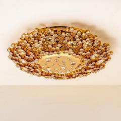 Palwa Piar Of Gilded Brass and Crystal Glass Flush Mount wall Light by Palwa 1960s - 1186252