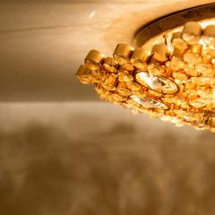 Palwa Piar Of Gilded Brass and Crystal Glass Flush Mount wall Light by Palwa 1960s - 1186253