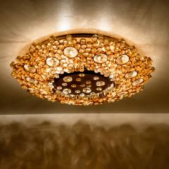 Palwa Piar Of Gilded Brass and Crystal Glass Flush Mount wall Light by Palwa 1960s - 1186255
