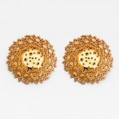 Palwa Piar Of Gilded Brass and Crystal Glass Flush Mount wall Light by Palwa 1960s - 1186794