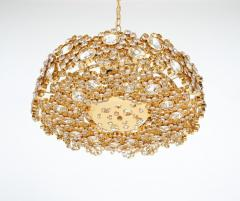 Palwa Set of 3 Gilt Brass Crystal Glass Encrusted Chandeliers By Palwa - 231480