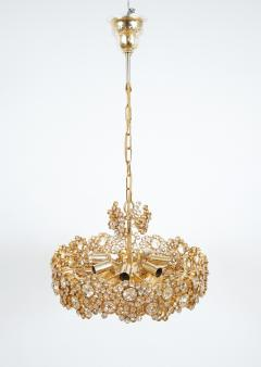 Palwa Set of 3 Gilt Brass Crystal Glass Encrusted Chandeliers By Palwa - 231481