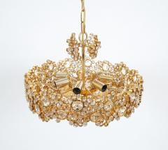 Palwa Set of 3 Gilt Brass Crystal Glass Encrusted Chandeliers By Palwa - 231484