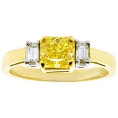 Pampillonia 74 Carat Vivid Yellow Internally Flawless Diamond Three Stone Ring - 1425059