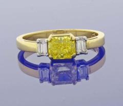 Pampillonia 74 Carat Vivid Yellow Internally Flawless Diamond Three Stone Ring - 1425065