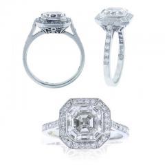 Pampillonia Asscher Cut Diamond Ring - 1018342