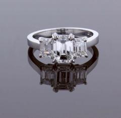Pampillonia Emerald Cut Diamond Three Stone Ring - 1425158