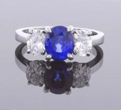 Pampillonia Oval Sapphire and Diamond Three Stone Ring - 1425151