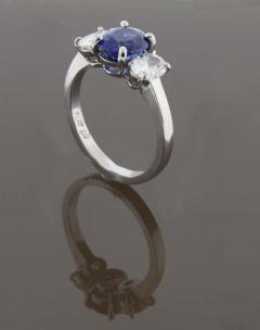 Pampillonia Oval Sapphire and Diamond Three Stone Ring - 1425152