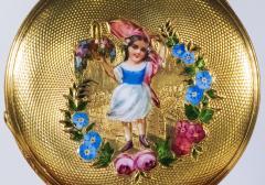 Patek Philippe Co 1830s Patek Hunting Case Enamel Flower Girl Motif 18 Karat YG Pocket Watch - 1205466