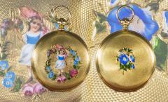 Patek Philippe Co 1830s Patek Hunting Case Enamel Flower Girl Motif 18 Karat YG Pocket Watch - 1205470