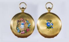 Patek Philippe Co 1830s Patek Hunting Case Enamel Flower Girl Motif 18 Karat YG Pocket Watch - 1205472