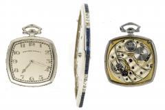 Patek Philippe Co 1930s Patek Philippe Platinum Sapphire Diamond Factory Set Pocket Watch - 867509