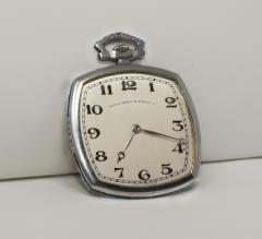 Patek Philippe Co 1930s Patek Philippe Platinum Sapphire Diamond Factory Set Pocket Watch - 867767