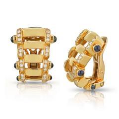 Patek Philippe Co PATEK PHILIPPE 18K YELLOW GOLD SAPPHIRE DIAMOND RING AND EARRINGS JEWELRY SET - 1744625