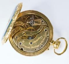 Patek Philippe Co Patek Philippe Enamel Diamond Pocket watch 1830s w Aquamarine Blue Rays - 1205109
