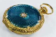 Patek Philippe Co Patek Philippe Enamel Diamond Pocket watch 1830s w Aquamarine Blue Rays - 1205110