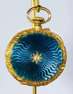 Patek Philippe Co Patek Philippe Enamel Diamond Pocket watch 1830s w Aquamarine Blue Rays - 1205112