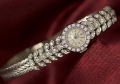 Patek Philippe Co Rare 1940s Patek Philippe Diamond 18kt White Gold Leaf Motif Wristwatch - 455279