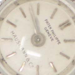 Patek Philippe Co Rare 1940s Patek Philippe Diamond 18kt White Gold Leaf Motif Wristwatch - 455281