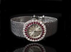 Patek Philippe Co Rare Patek Philippe 18kt White Gold Ruby Diamond Factory Set Wristwatch - 867459