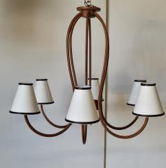 Paul Marra Design Adnet Style Leather Wrapped Chandelier - 1942993