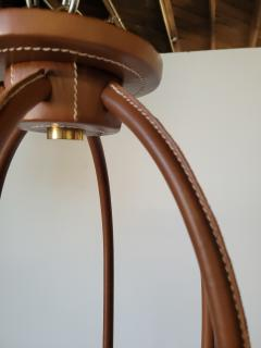 Paul Marra Design Adnet Style Leather Wrapped Chandelier - 1943002