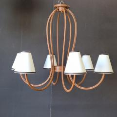 Paul Marra Design Adnet Style Leather Wrapped Chandelier - 1943003