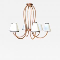 Paul Marra Design Adnet Style Leather Wrapped Chandelier - 1957127